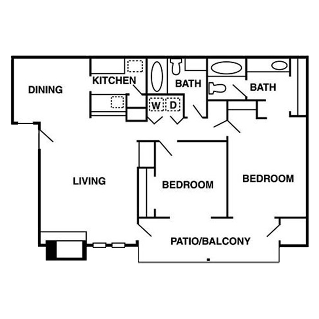 2 Bed and Bath with Balcony Floor Plan