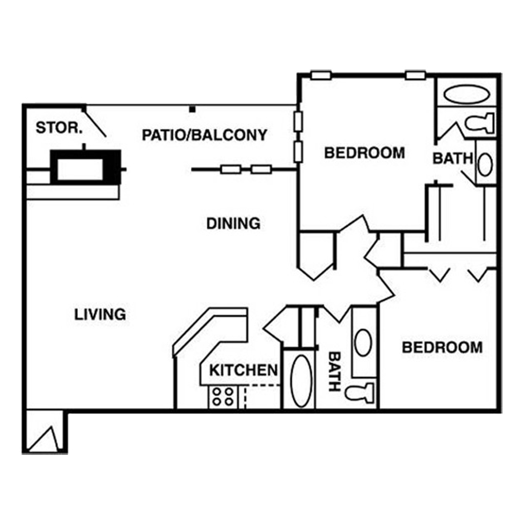 Nice 2 Bed and Bath for Rent Floor Plan